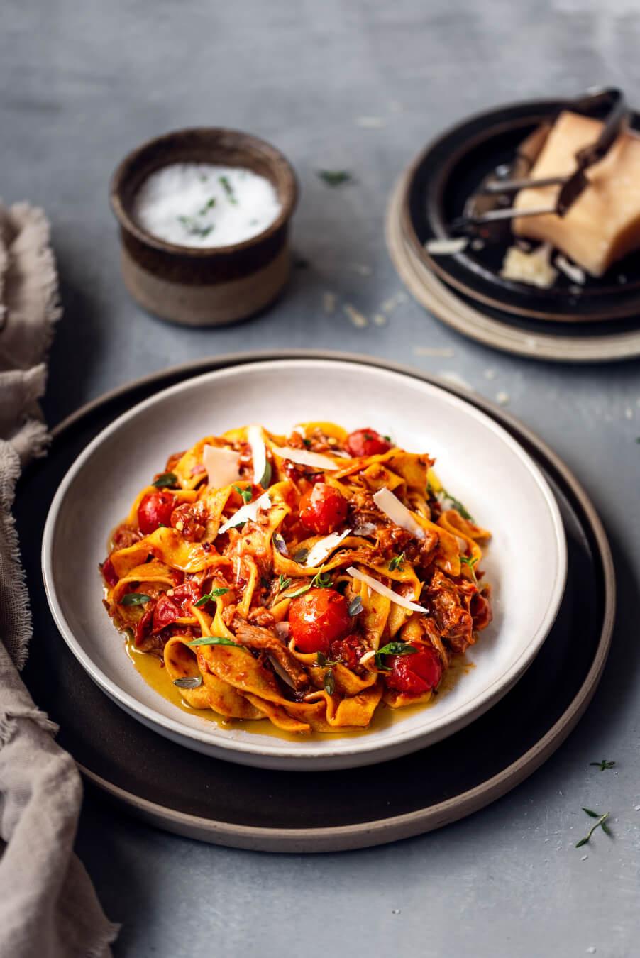 lmabaragú með pappardelle pasta