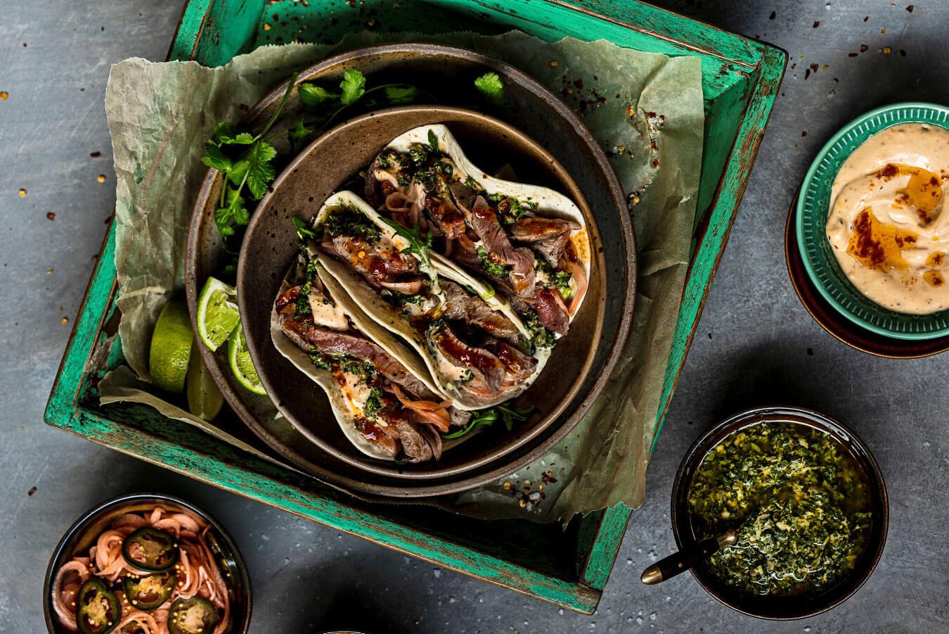 Lamba-tacos með kóríandersalsa